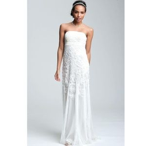 Sue Wong white embroidered lace beaded gown